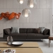 Essex Genuine Leather Modern Sofa in Cacau by Modloft Black - Lifestyle Front View