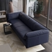 Essex Genuine Leather Modern Sofa in Navy by Modloft Black - Lifestyle, Above View