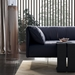 Essex Genuine Leather Modern Sofa in Navy by Modloft Black - Lifestyle Detail View