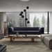 Essex Genuine Leather Modern Sofa in Navy by Modloft Black - Lifestyle, Front View
