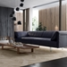 Essex Genuine Leather Modern Sofa in Navy by Modloft Black - Lifestyle, Angle View
