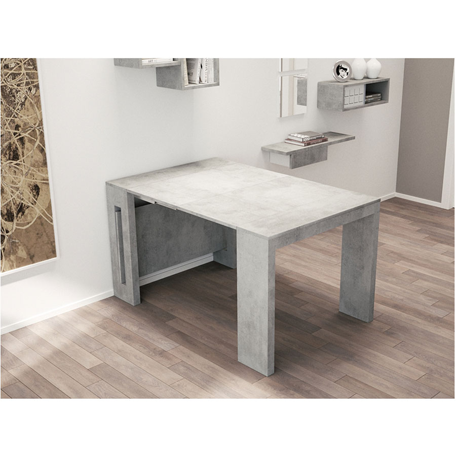 ... Estuary Faux Concrete Expandable Contemporary Console + Dining Table ...
