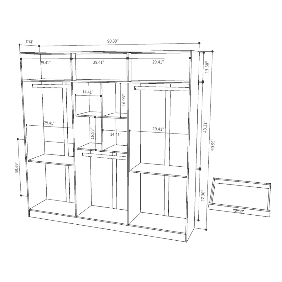 ... Europe Modern White Wardrobe Armoire Closet   Drawing