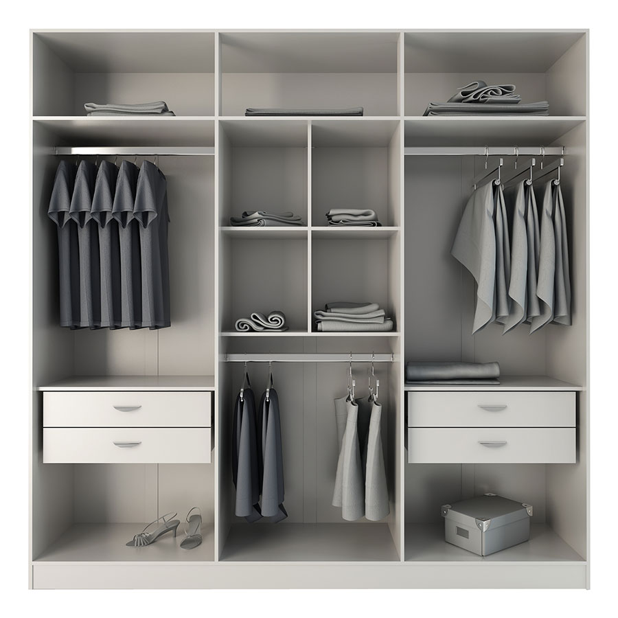... Europe Modern White Wardrobe Armoire Closet   Inside ...