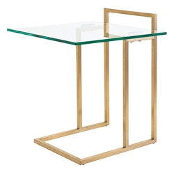 Eustace Gold Metal + Clear Glass Square Modern End Table