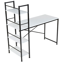 Echo Modern White Desk + Shelf