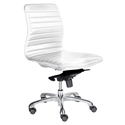Everett White Leatherette Armless Modern Office Chair
