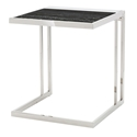 Everman Polished Steel + Black Marble Square Modern End Table