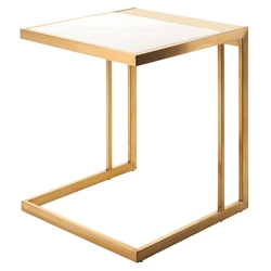 Everman Gold Steel + White Marble Square Modern End Table
