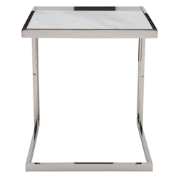 Everman Polished Steel + White Marble Square Modern End Table - Front