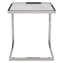 Ethan Polished Steel + White Marble Square Modern End Table - Front