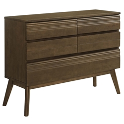Evers Walnut Wood Mid-Century Modern Double Dresser