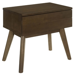 Evers Walnut Wood Mid-Century Modern Nightstand