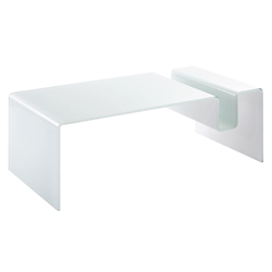 Fairfield White Glass Modern Coffee Table