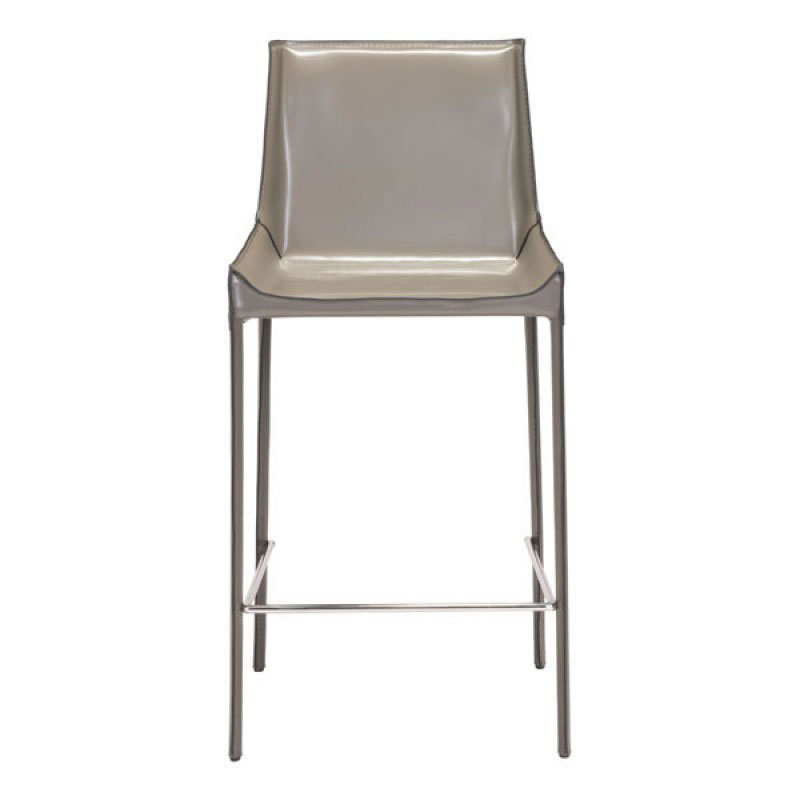 Falwell Tan Recycled Leather  Chrome Metal Contemporary Bar Stool Tan Leather Bar Stools L47
