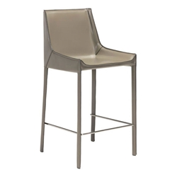 Falwell Tan Recycled Leather + Chrome Metal Modern Bar Stool