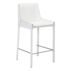 Falwell White Recycled Leather + Chrome Modern Bar Stool