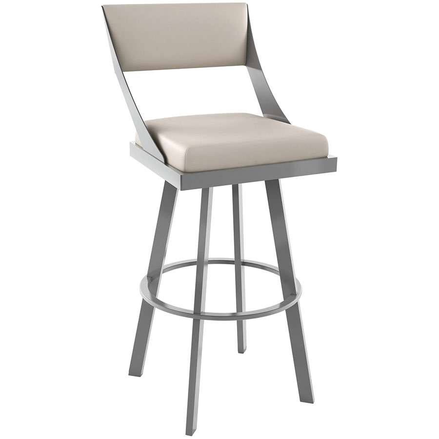 Fame Bar Stool Shown in Magnetite and Oyster by Amisco