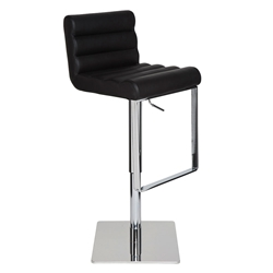 Fanning Black Leather + Polished Steel Modern Adjustable Height Bar + Counter Stool