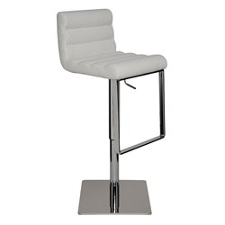 Fanning White Leather + Polished Steel Modern Adjustable Height Bar + Counter Stool