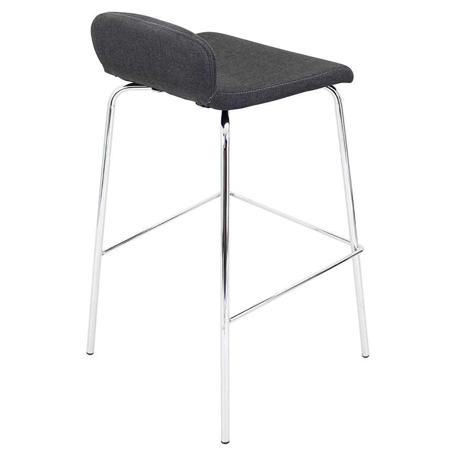Farley Charcoal + Chrome Modern Bar Stool