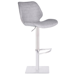 Faroe Modern Light Gray Faux Leather Adjustable Stool