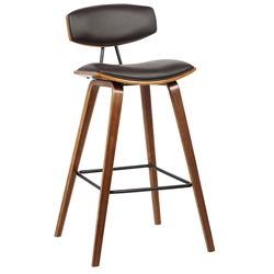 Farrah Modern Walnut + Brown Faux Leather Counter Stool