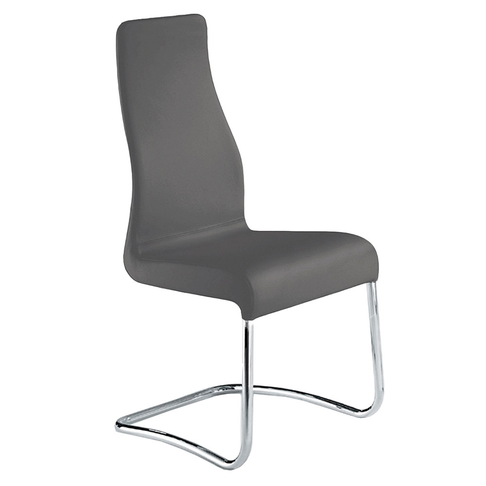 Farwell Gray Italian Leather + Chromed Steel Modern Dining Side Chair