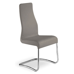 Farwell Taupe Italian Leather + Chromed Steel Modern Dining Side Chair
