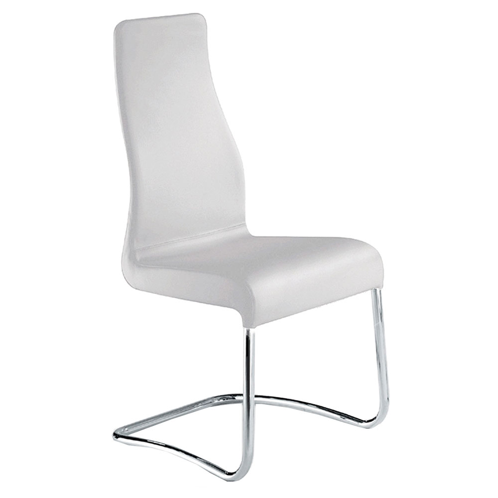 Farwell White Italian Leather + Chromed Steel Modern Dining Side Chair