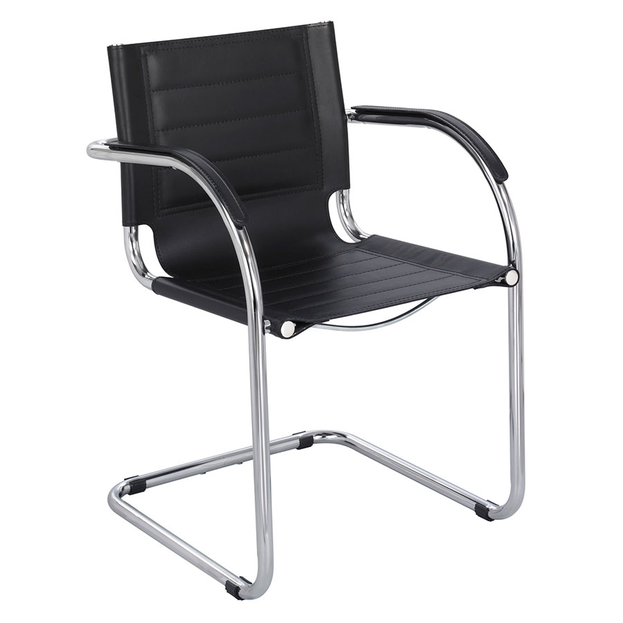 Call To Order Fathom Black Modern Leather Guest Chair