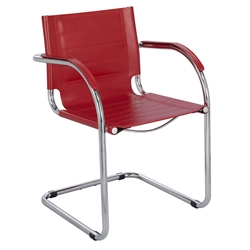 Fathom Red Modern Leather Guest Chair