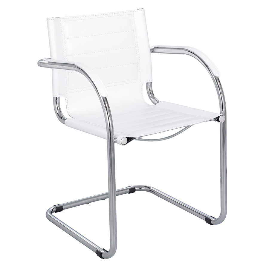 Call To Order · Fathom White Modern Leather Guest Chair