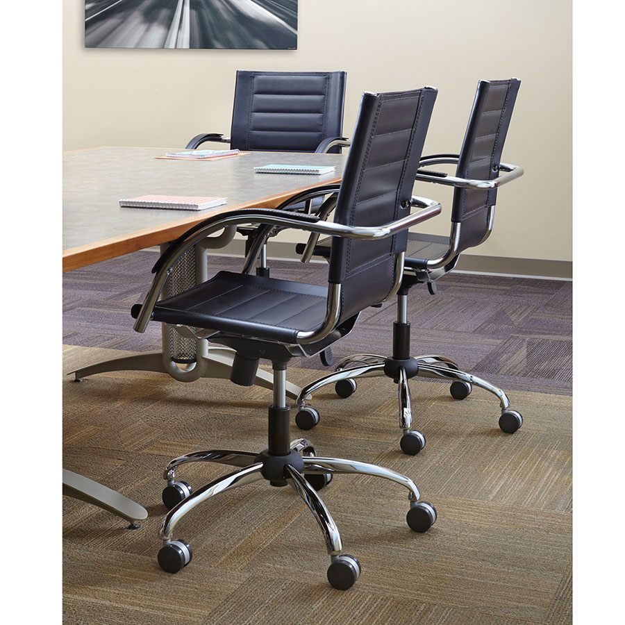 Fathom Contemporary Black Leather Office Chair
