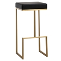 Fensmark Black Faux Leather + Gold Stainless Steel Modern Bar Stool