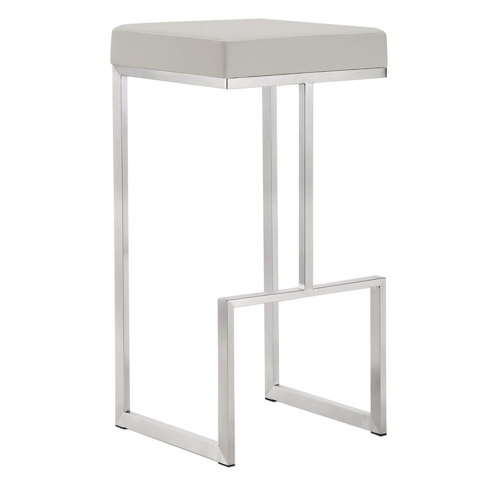 Fensmark Light Gray Faux Leather + Brushed Stainless Steel Modern Bar Stool