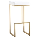 Fensmark White Faux Leather + Gold Stainless Steel Modern Bar Stool