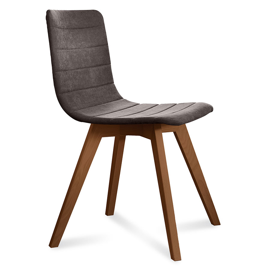 Feodor walnut brown modern side chair eurway for Walnut dining chairs modern
