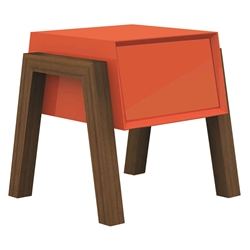 Figaro Orange + Walnut Modern Nightstand + End Table