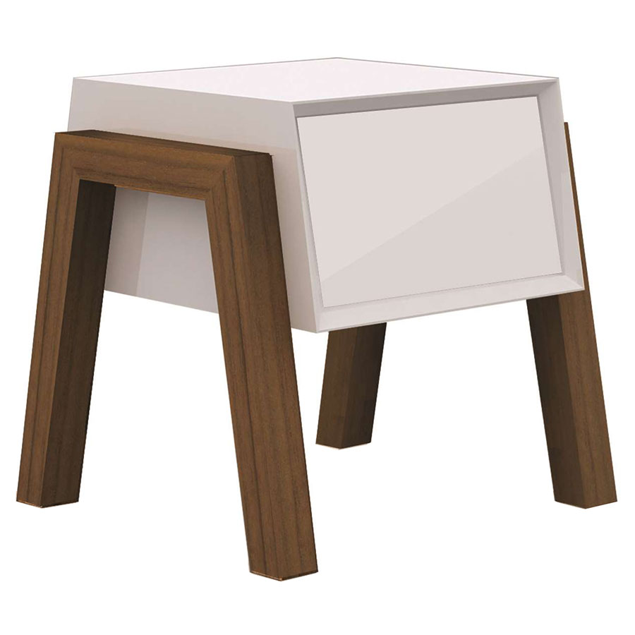 Figaro White + Walnut Modern Nightstand + End Table