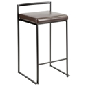 Finland Modern Black + Brown Stacking Counter Stool