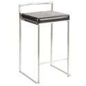 Finland Stainless + Black Stacking Counter Stool