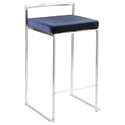 Finland Stainless + Blue Velvet Stacking Counter Stool