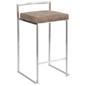 Finland Stainless + Brown Fabric Stacking Counter Stool