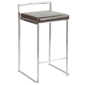 Finland Stainless + Brown Stacking Counter Stool