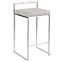 Finland Stainless + Gray Fabric Stacking Counter Stool