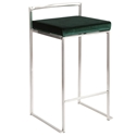 Finland Stainless + Green Velvet Stacking Counter Stool