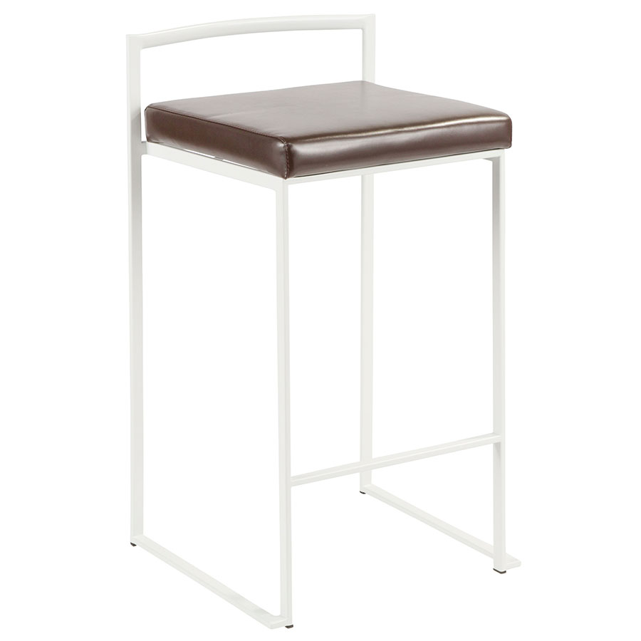Finland Modern White + Brown Stacking Counter Stool