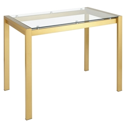 Finland Clear Glass + Gold Modern Counter Table