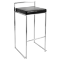 Finland Modern Stacking Bar Stool - Stainless + Black